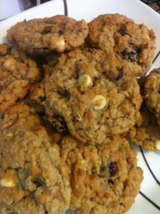 Cranberry Lemon White Chocolate Chip Oatmeal Cookie on plate